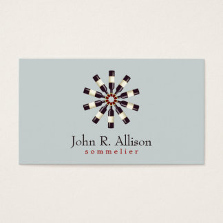 Wine Bottle Wheel Sommelier Simple Gray Business Card