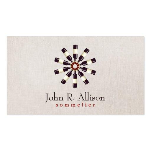 Wine Bottle Wheel Sommelier Simple Linen Look Business Card