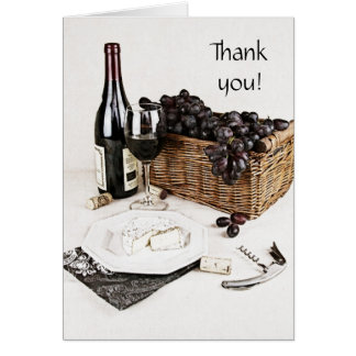 wine bottle, wine glass and cheese thank you note greeting card