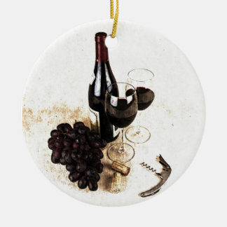 Wine bottle, wine glasses and basket of grapes ceramic ornament