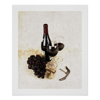 Wine bottle wine glasses and corks print