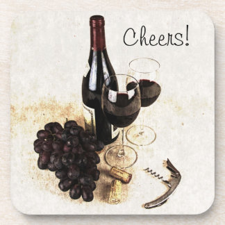 Wine bottle, wine glasses, grape and cork cheers coaster