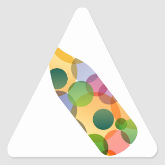 Wine bottle with colorful circles triangle sticker
