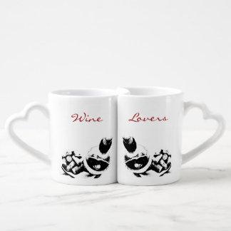 Wine Bottle with Corks Sketch Custom Coffee Mug Set