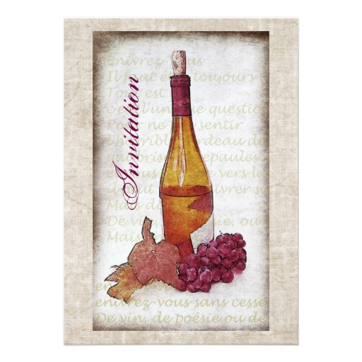 Wine bottle with grapes invitation