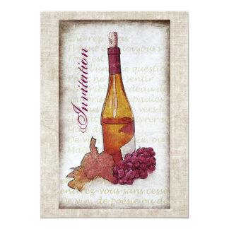 "Wine bottle with grapes invitation 5"" x 7"" invitation card"