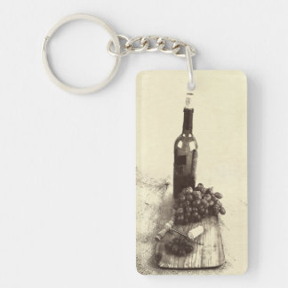 wine bottle with grapes keychain