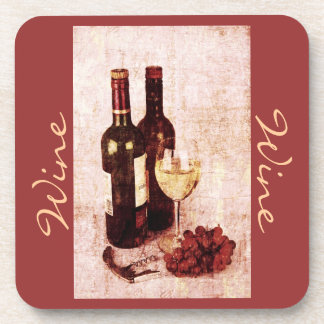 wine bottle with grapes kitchen decor coasters