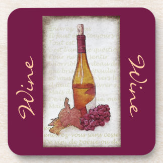 wine bottle with grapes kitchen decor coaster
