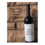 Wine Bottle with Purple Party Postcards