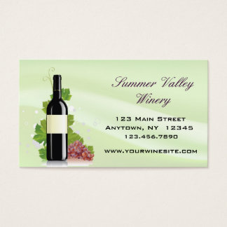 Wine Bottle with Red Grapes Business Card