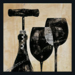 """Wine Bottle with Two Glasses Poster<br><div class=""""desc"""">&#169; Daphne Brissonnet / Wild Apple.  The image features a wine bottle and two glasses drawn in black against a peach colored background. A wine bottle opener is also on the image.</div>"""