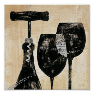 Wine Bottle with Two Glasses Poster