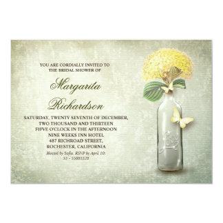 Wine bottle & yellow flowers bridal shower invites