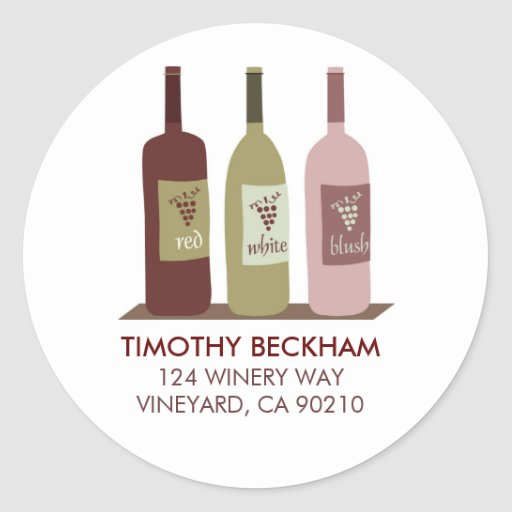 Wine Bottles Address Labels Round Sticker