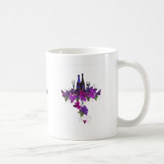 Wine bottles against purplish leaves coffee mug