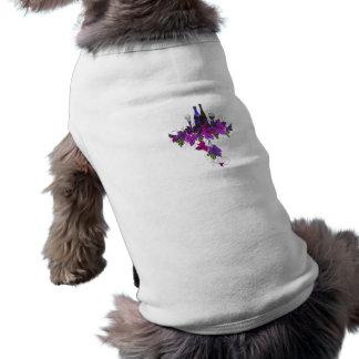 Wine bottles against purplish leaves dog tshirt