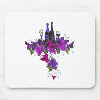 Wine bottles against purplish leaves mousepads