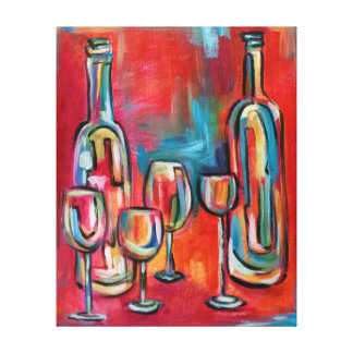 Wine Bottles and Glasses Red Blue Canvas Print
