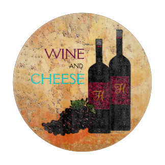 Wine Bottles and Grapes Cutting Board