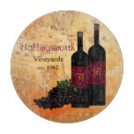 Wine Bottles and Grapes Monogrammed Cutting Board