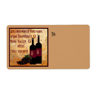 Wine Bottles and Grapes Vineyard Label