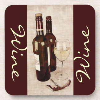 Wine bottles and wineglass coaster