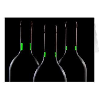 Wine Bottles Black Note Card