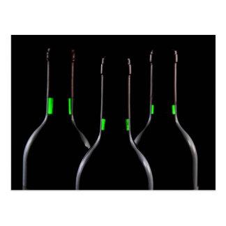 Wine Bottles Black Postcard