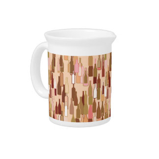 Wine bottles, earth colors, light coral background beverage pitcher
