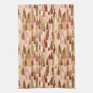 Wine bottles, earth colors, light coral background hand towels