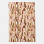 Wine bottles, earth colors, light coral background towel