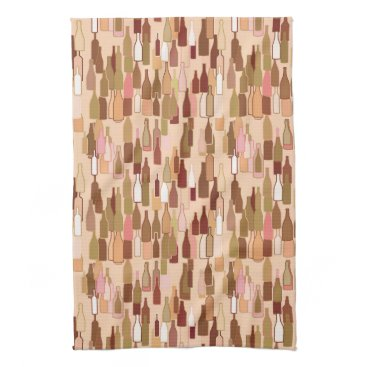 Coffee Themed Wine bottles, earth colors, light coral background kitchen towel