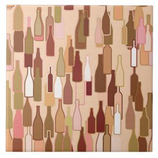 Wine bottles, earth colors, light coral background tile