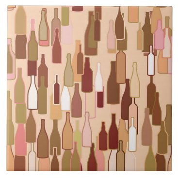 Coffee Themed Wine bottles, earth colors, light coral background tile