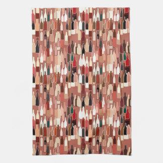 Wine bottles, earth colors, terra cotta background towel