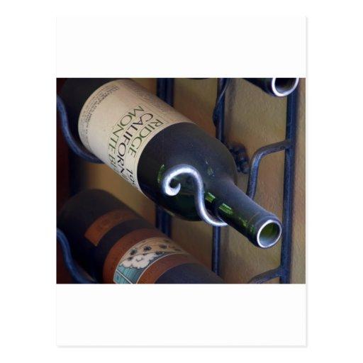Wine Bottles In A Rack Postcard