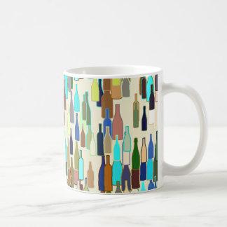 Wine bottles, multi color, beige background coffee mugs