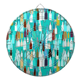 Wine bottles multi colors turquoise background dart board