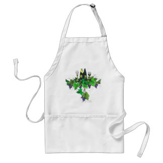 Wine bottles on grapes and leaves adult apron