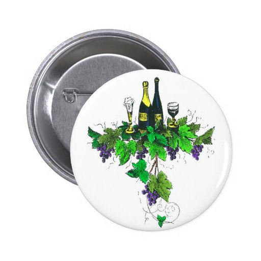 Wine bottles on grapes and leaves buttons