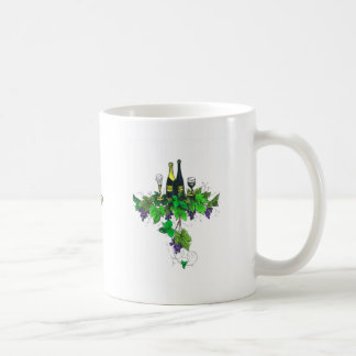 Wine bottles on grapes and leaves coffee mug