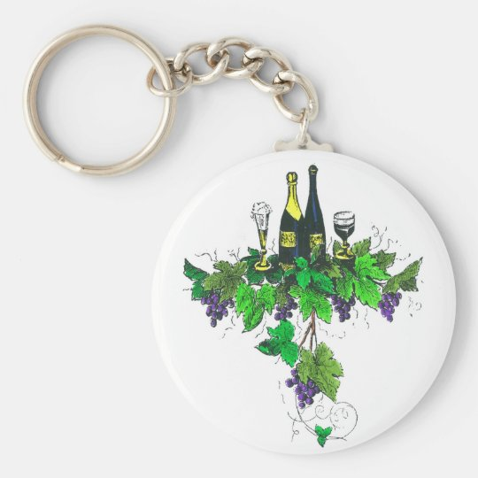 Wine bottles on grapes and leaves keychain
