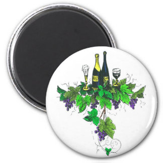 Wine bottles on grapes and leaves refrigerator magnets