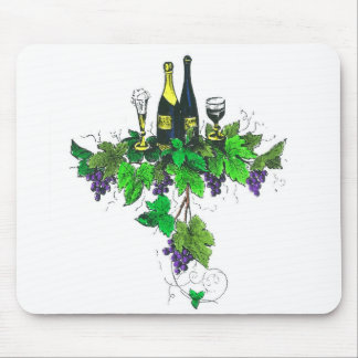 Wine bottles on grapes and leaves mousepad
