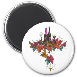 Wine bottles on green grapes and purple leaves 2 inch round magnet