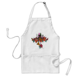 Wine bottles on green grapes and purple leaves adult apron
