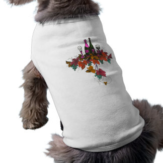 Wine bottles on green grapes and purple leaves dog tee shirt