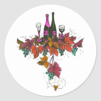 Wine bottles on green grapes and purple leaves sticker