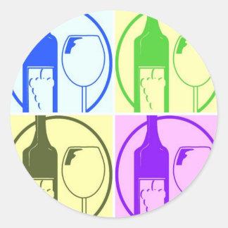 Wine Bottles Pop Art Classic Round Sticker